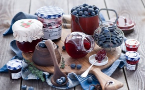Картинка ягоды, черника, баночки, доска, банки, джем, варенье, ложки, Anna Verdina