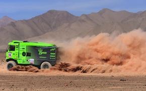 Картинка Пыль, Спорт, Пустыня, Зеленый, Грузовик, Гонка, Жара, Rally, Dakar, Чемпионат, Вид сбоку, Ginaf, X 222, …