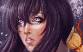 Картинка взгляд, девушка, фон, волосы, арт, живопись