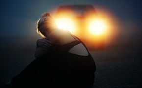 Картинка дорога, машина, девушка, ситуация