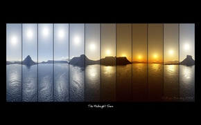 Обои надписи, горы, компановка, The Midnight Sun, коллаж, фотосъемка, море, солнце
