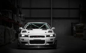 Обои белый, GT-R, R34, Nissan, Skyline, темный склад