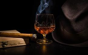 Обои шляпа, коньяк, сигара, алкоголь, бокал