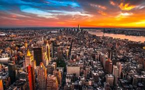 Обои Architecture, New York, Skyline, City, Homes, Sunset, Clouds, Sky, Street