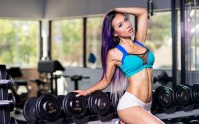 Обои gym, model, brunette, pose, fitness