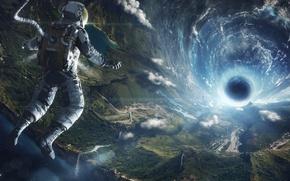 Обои вселенная, земля, скафандр, полет, Космонавт, черная дыра