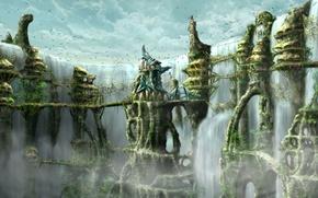 Картинка город, фентези, водопад, мосты