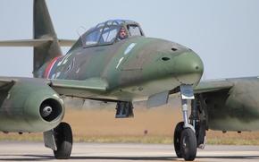 Картинка истребитель, бомбардировщик, аэродром, реактивный, Me.262, Мессерщмитт