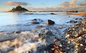 Картинка море, небо, скала, камни, замок
