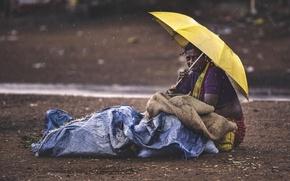 Картинка woman, umbrella, raining