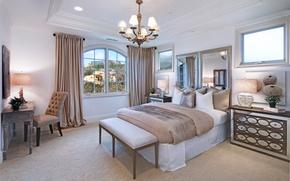Картинка дизайн, вилла, кровать, интерьер, зеркало, люстра, шкаф, спальня, luxury, bedroom