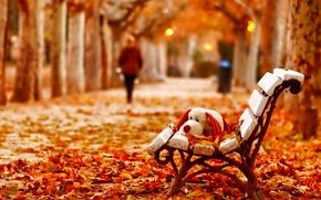 Картинка скамейка, листва, игрушка, Осень, силуэт