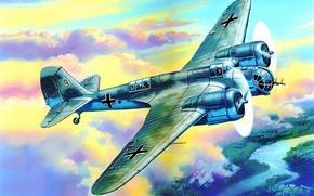 Картинка AVIA B 71, aviation, ww2, painting, airplane, war, art