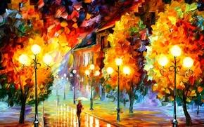 Картинка цвет, масло, фонари, Картина