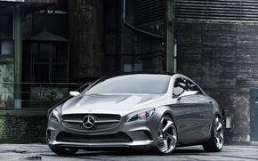 Картинка авто, серебро, купе, concept, концепт, 2012, седан, диски, mercedes-benz, мерседес, Mercedes CSC