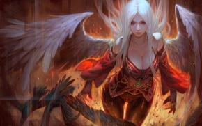 Обои девушка, фантастика, огонь, крылья, ангел, красные глаза, белые волосы, art, Fallen Angel, Krenz