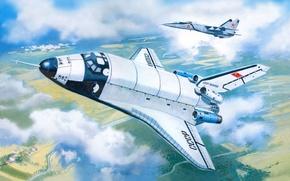Картинка авиация, рисунок, корабль, прототип, космический, Буран, советский, МиГ-25пу, BTS-02