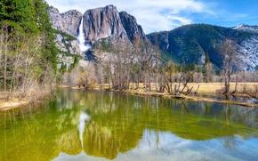 Картинка лес, небо, облака, деревья, горы, отражение, река, водопад, Yosemite, National Park, Sierra Nevada