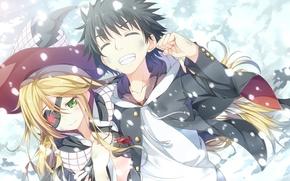 Картинка девушка, снег, радость, шляпа, аниме, арт, повязка, парень, to aru majutsu no index, yuuri, asterisk, …