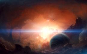 Картинка солнце, туманность, планета, спутник, далекая