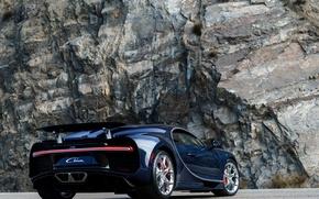 Картинка авто, Bugatti, бугатти, задок, гиперкар, выхлопы, Chiron