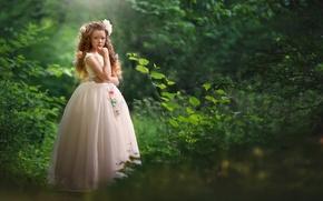 Обои девочка, платье, природа
