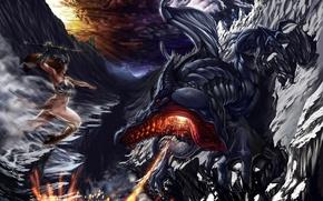 Обои бой, вечер, смерть, девушка, дракон