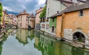 Картинка Франция, здания, дома, канал, мостик, bridge, France, canal, Анси, Annecy