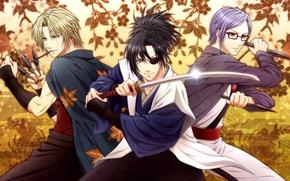 Картинка листья, оружие, меч, парни, кинжалы, Gintama, Yagyuu Kyuubei, Sarutobi Ayame, Tsukuyo
