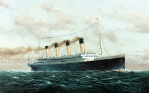 Картинка Небо, Море, Рисунок, Волны, Лайнер, Титаник, Судно, Titanic, Пассажирское судно, RMS Titanic, на Ходу