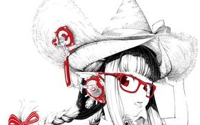 Картинка язык, девушка, шляпа, аниме, наушники, арт, очки, косички, монохромное, jaco