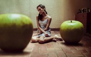 Картинка девушка, фон, яблоки
