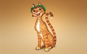 Картинка кошка, кот, оранжевый, улыбка, рыжий, светлый фон
