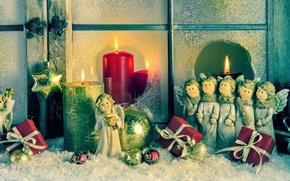 Картинка украшения, игрушки, свечи, ангелы, Новый Год, Рождество, Christmas, vintage, New Year, decoration, Happy, Merry