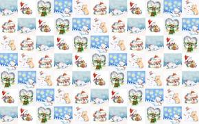 Картинка зима, снег, фон, настроение, праздник, картинки, текстура, мишка, Новый год, пингвин, малышам, десткая