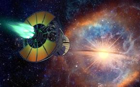Картинка звезды, фантастика, вселенная, корабль, Star Birth