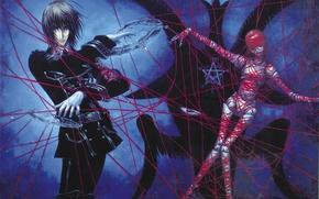 Картинка колдовство, пентаграмма, art, красная нить, кукла вуду, Trinity Blood, черная магия, кровь триединства, Dietrich von …