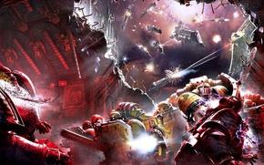 Обои корабли, Horus Heresy, Warhammer 40000, штурм, космодесант, битва в космосе, Shadows of Treachery, Neil Roberts, ...
