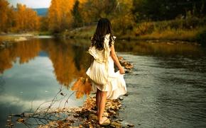Картинка девушка, река, камни, платье, Lichon