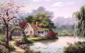 Картинка дом, река, картина, живопись, лебеди, painting, Sung Kim