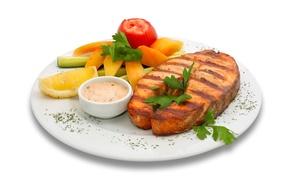 Картинка рыба, тарелка, овощи, соус, блюдо, гарнир