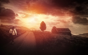 Картинка дорога, облака, дерево, Here comes the sun