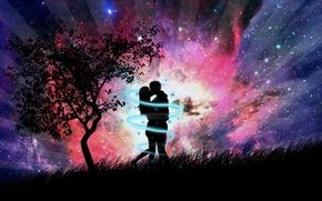 Обои абстракция, романтика, дерево, пара, рисунок, вечер, трава, поцелуй