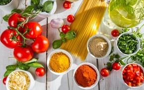 Картинка помидоры, спагетти, специи