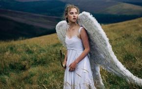 Обои лук, девушка, ангел