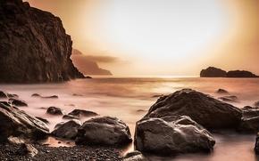 Картинка море, ночь, скалы, берег
