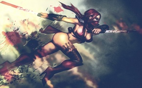 Обои девушка, кровь, воин, маска, ножки, мечи, убийца, Mortal Kombat