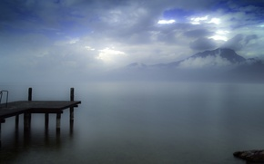 Картинка небо, облака, горы, Озеро, причал