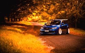 Картинка осень, Subaru, Impreza, синяя, STI, blue, субару, импреза