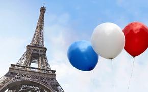 Картинка белый, небо, синий, красный, город, воздушные шары, Франция, Париж, Эйфелева башня, Paris, France